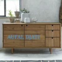 buffet cabinet meja consol rak tv drawer minimalis top jati jepara