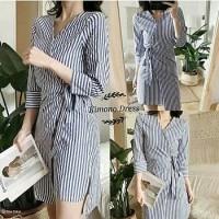 Kimono Stripe Monocrome Dress By Giashopid GD590