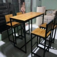 Set table meja dan 4 kursi cafe bar resto rumah makan