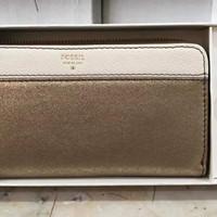 dompet wanita Fossil original brena clutch gift set gold multi