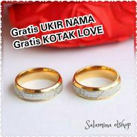 Gratis UKIR NAMA gratis KOTAK cincin titanium import single pernikahan