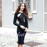 Black Sexy Open Bust Dress Bodycon IMPORT