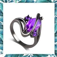 Cincin oval ungu zircon wanita