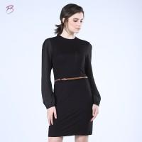 BODYTALK-DRESS LENGAN PANJANG COMBO DRESS (74014T6BK)