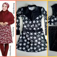 setelan baju renang wanita muslim jumbo dress celana jilbab star hitam