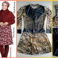 setelan baju renang wanita muslim jumbo big dress celana jilbab loreng