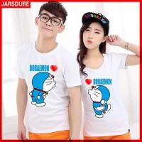 [Cp T Shirt Doraemon CL] baju couple doraemon cotton combed putih