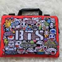 "BTS Doodle Velboa Sablon 10&11""-12 Inch Softcase Tas Laptop Netbook"
