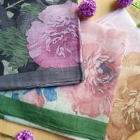 Hijab Organza Print   JIlbab Segiempat Motif   Umama Feather Print Ba