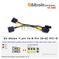 Kabel 2x Molex 4 Pin To 8 atau 6 Pin PCI-E VGA