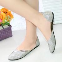 Sepatu Murah NAFIZA  Flatshoes Glitter Strip Silver