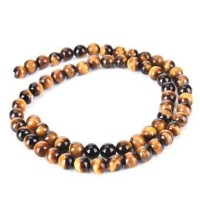 Batu Natural Tiger Eye 14MM - Bahan Aksesoris Batu - Gelang - Tasbih