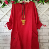 Blouse Tebal wanita murah XXL/baju atasan wanita polos Red/baju kantor