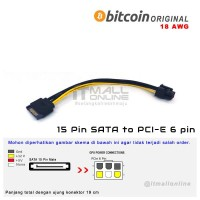 Kabel Power SATA 15 Pin To 6 Pin 6pin PCI-E VGA