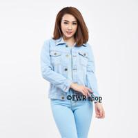 [ PROMO ] jaket crop light & navy blue | jacket jeans wanita