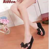 [ PROMO ] Sandal Ribbon BLACK (Tinggi 5.5 cm , enteng, nyaman
