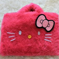 "Hello Kitty Face Bulu Rasfur 10&11""-12 Inch Softcase Tas Laptop"