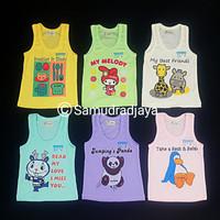 6 pcs kaos singlet bayi size L baju kutung buntung harian motif lucu