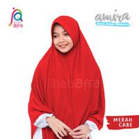 Jilbab Instan AMIRA Antem Bahan Kaos Merah Cabe Size XL - Jilbab Afra