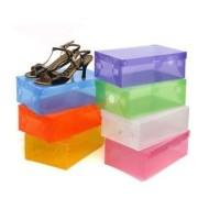 kotak sepatu plastik transparan warna warni - Putih Rapih