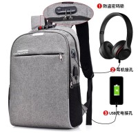 Tas Ransel Anti Maling USB Port Charger + Headset Port Smart Backpack - Hitam