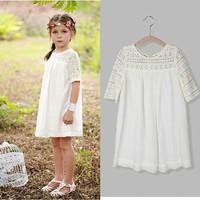 Dress putih brukat shifon import