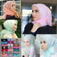 (Hijab, Kerudung, Khimar) Jilbab Instan Segiempat Organza Dot Premium