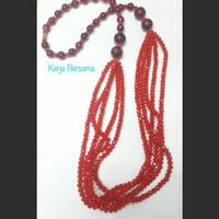 kalung batu kristal merah kombinasi batu akik rangkap 5