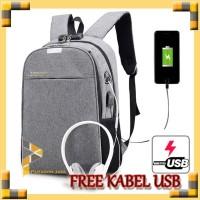 TAS RANSEL ANTI MALING KANVAS USB + HEADSET CANVAS SMART BACKPACK 827