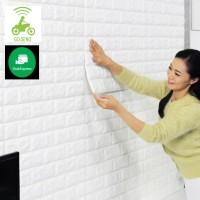 GOSEND Wallpaper Foam 70 CM X 77 CM 3D Bata Putih White Brick Panel