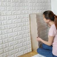 Wallpaper Foam 70 CM X 77 CM 3D Bata Putih White Brick Panel PAKET