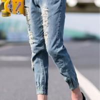 celana jogger jeans pria - ripped denim cp202