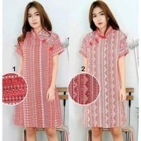 Dress Batik Cheongsam Red Larissa