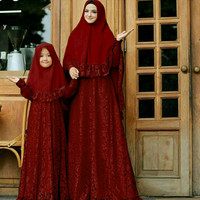 Baju Couple Busana Muslim Keluarga / Ibu & Anak CPMK Naura Marun