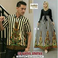 Baju Batik Couple Gamis Batik Shifiya Rok panjang Hem Kemeja Cowok
