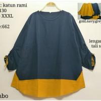 Blouse Bigsize Kode 662 3XL Baju Atasan Wanita Blus Jumbo Lengan Serut