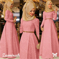 Hijab Maxi Zamirah 3in1 Peach