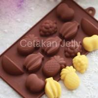 Cetakan Silikon Coklat Puding Mini Fruit 11 cav