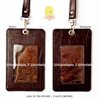 ID TAG HOLDER 2 KARTU/NAME TAG/ID CARD HOLDER LEATHER/TEMPAT ID CARD