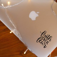 Decal Sticker Macbook Apple Stiker Faith Over Fear Quote Laptop