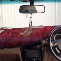 promo Alas Bulu Cover Penutup Dashboard Mobil Bulu Panjang Merah Hita