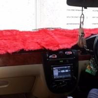 promo Alas Bulu Cover Penutup Dashboard Bulu Pendek Mobil Merah