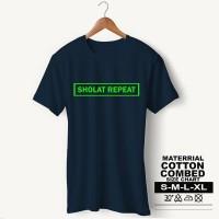Baju Pria Kaos Muslim PS-LSMSZN621 SHOLAT REPEAT 3 - Putih, M