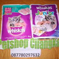 makanan kucing whiskas junior sachet 85gr makanan anak kucing whiskas