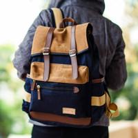 Tas Ransel Backpack Kanvas Pria Wanita Laptop - Firefly Janvier Navy