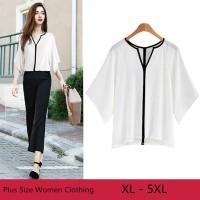 Plus Size 5XL Women Clothing Coloring-line Feminine Line Blouse Top Wo