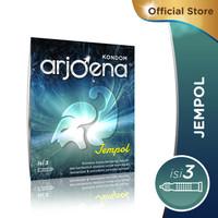Kondom Arjoena Jempol-Aman-Nyaman -Aroma Strawberry- kondom bergerigi
