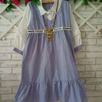 Blouse wanita Big Size murah biru /kemeja wanita/dress midi/baju pesta