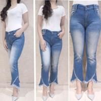 Celana Cutbray Jeans Jumbo Wanita - Cutbray Rumbai Keren Snow Blue