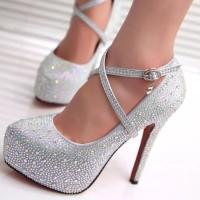 Sepatu high heel full crystal glitter Wedding Shoes - Merah, 35